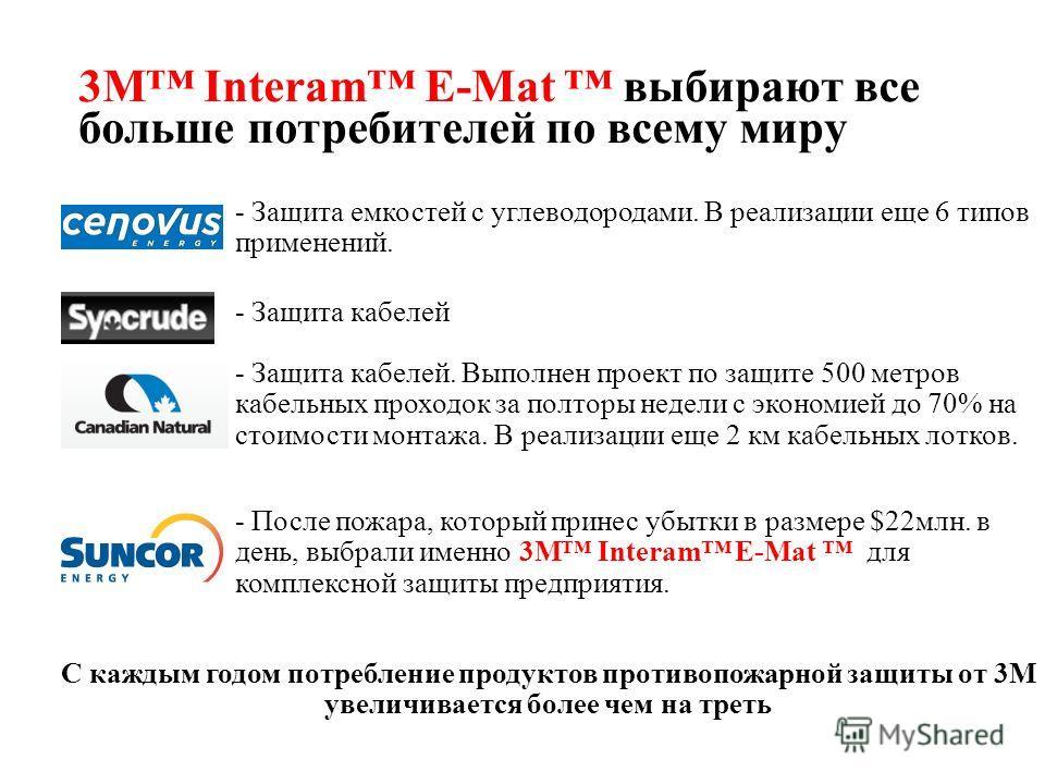 3M Interam E-Mat выбирают все больше потребителей по всему миру С каждым годом потребление продуктов противопожарной защиты от 3М увеличивается более чем на треть - Защита емкостей с углеводородами. В реализации еще 6 типов применений. - Защита кабел