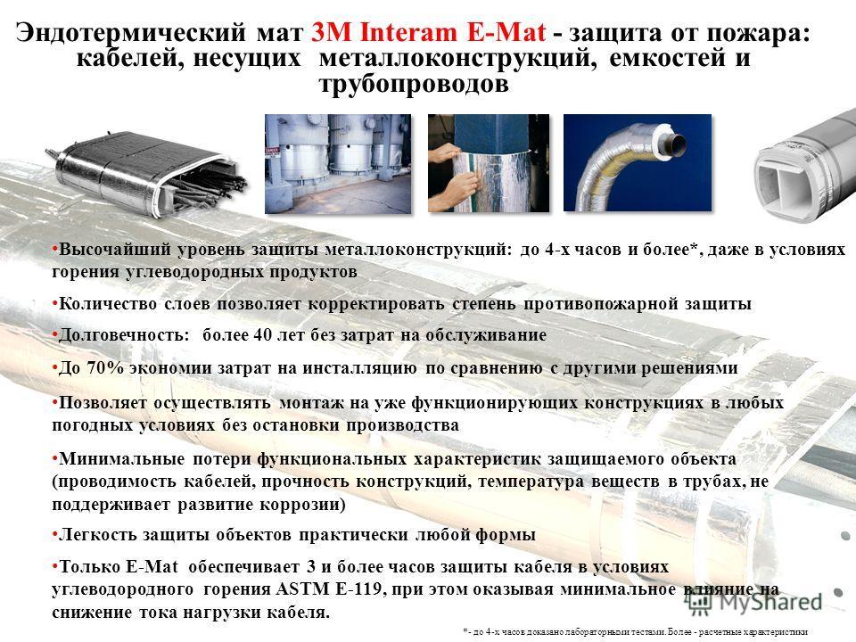 Эндотермический мат 3М Interam E-Mat - защита от пожара: кабелей, несущих металлоконструкций, емкостей и трубопроводов Высочайший уровень защиты металлоконструкций: до 4-х часов и более*, даже в условиях горения углеводородных продуктов Долговечность