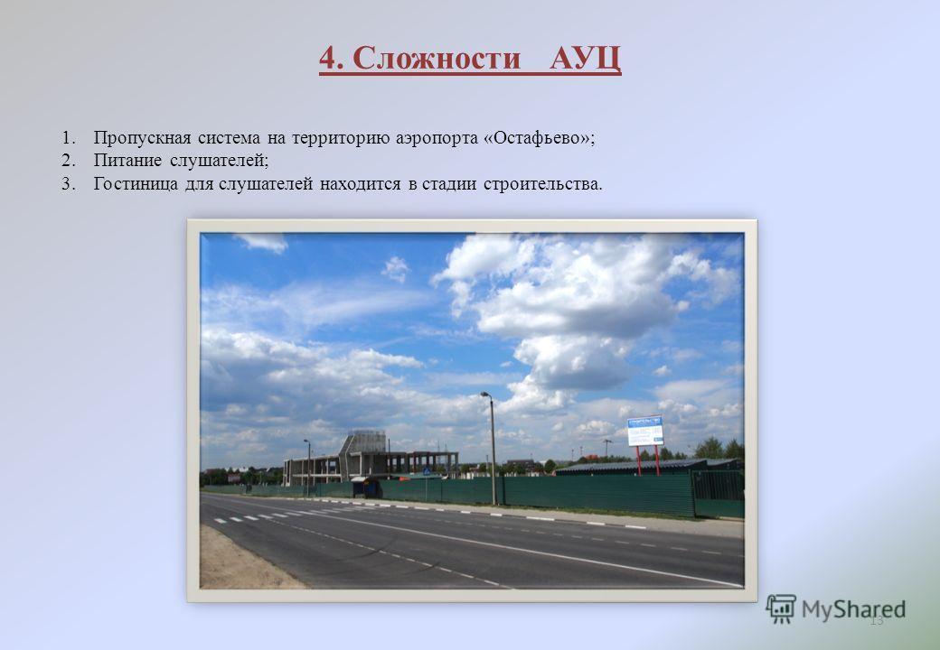 4. Сложности АУЦ 13 1. Пропускная система на территорию аэропорта «Остафьево»; 2. Питание слушателей; 3. Гостиница для слушателей находится в стадии строительства.