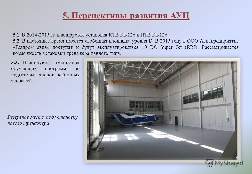 5. Перспективы развития АУЦ 14 5.1. В 2014-2015 гг. планируется установка КТВ Ка-226 и ПТВ Ка-226. 5.2. В настоящее время имеется свободная площадка уровня D. В 2015 году в ООО Авиапредприятие «Газпром авиа» поступят и будут эксплуатироваться 10 ВС S