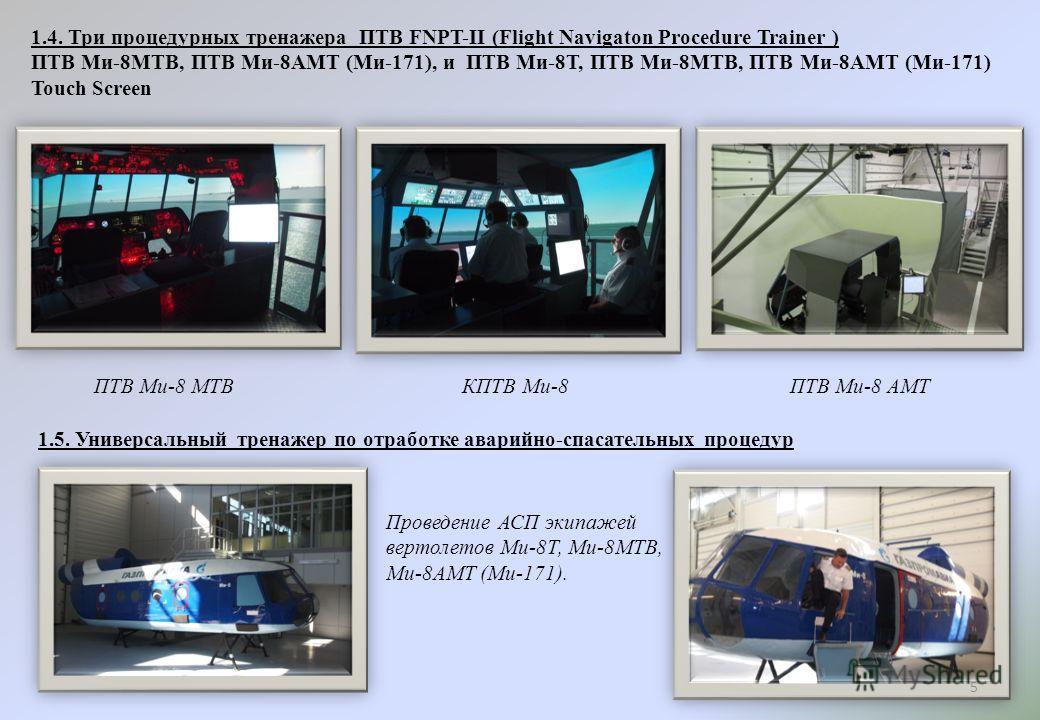 1.4. Три процедурных тренажера ПТВ FNPT-II (Flight Navigaton Procedure Trainer ) ПТВ Ми-8МТВ, ПТВ Ми-8АМТ (Ми-171), и ПТВ Ми-8Т, ПТВ Ми-8МТВ, ПТВ Ми-8АМТ (Ми-171) Touch Screen ПТВ Ми-8 МТВКПТВ Ми-8ПТВ Ми-8 АМТ 1.5. Универсальный тренажер по отработке
