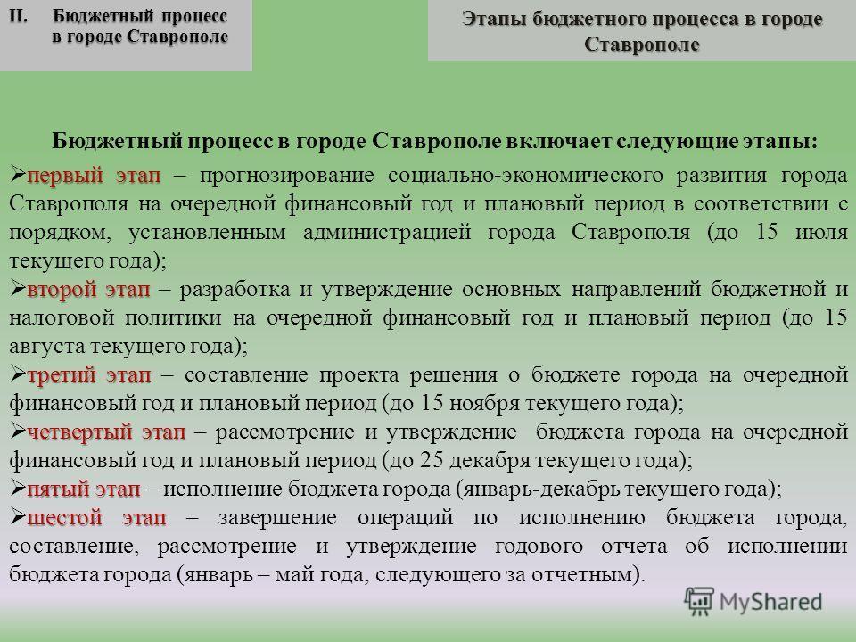 Этапы бюджетного процесса в городе Ставрополе II. Бюджетный процесс в городе Ставрополе Бюджетный процесс в городе Ставрополе включает следующие этапы: первый этап первый этап – прогнозирование социально-экономического развития города Ставрополя на о