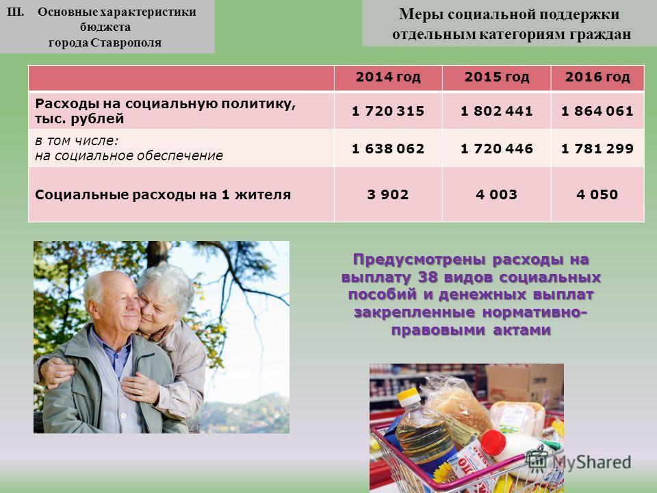 Меры социальной поддержки отдельным категориям граждан III. Основные характеристики бюджета города Ставрополя 2014 год 2015 год 2016 год Расходы на социальную политику, тыс. рублей 1 720 3151 802 4411 864 061 в том числе: на социальное обеспечение 1