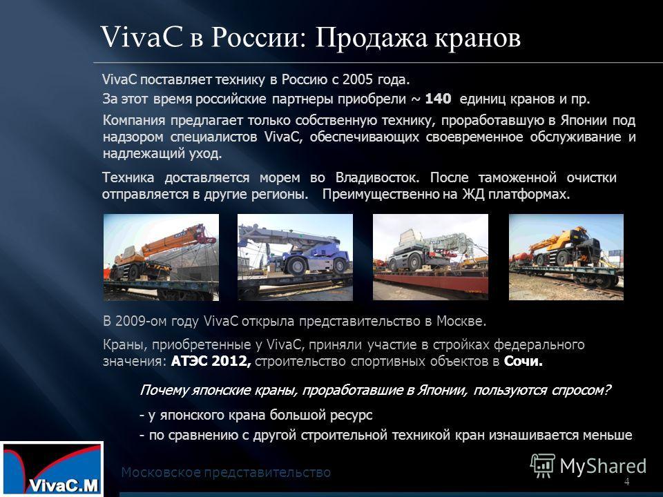 4 VivaC в России: Продажа кранов VivaC поставляет технику в Россию с 2005 года. Московское представительство Почему японские краны, проработавшие в Японии, пользуются спросом? - у японского крана большой ресурс - по сравнению с другой строительной те