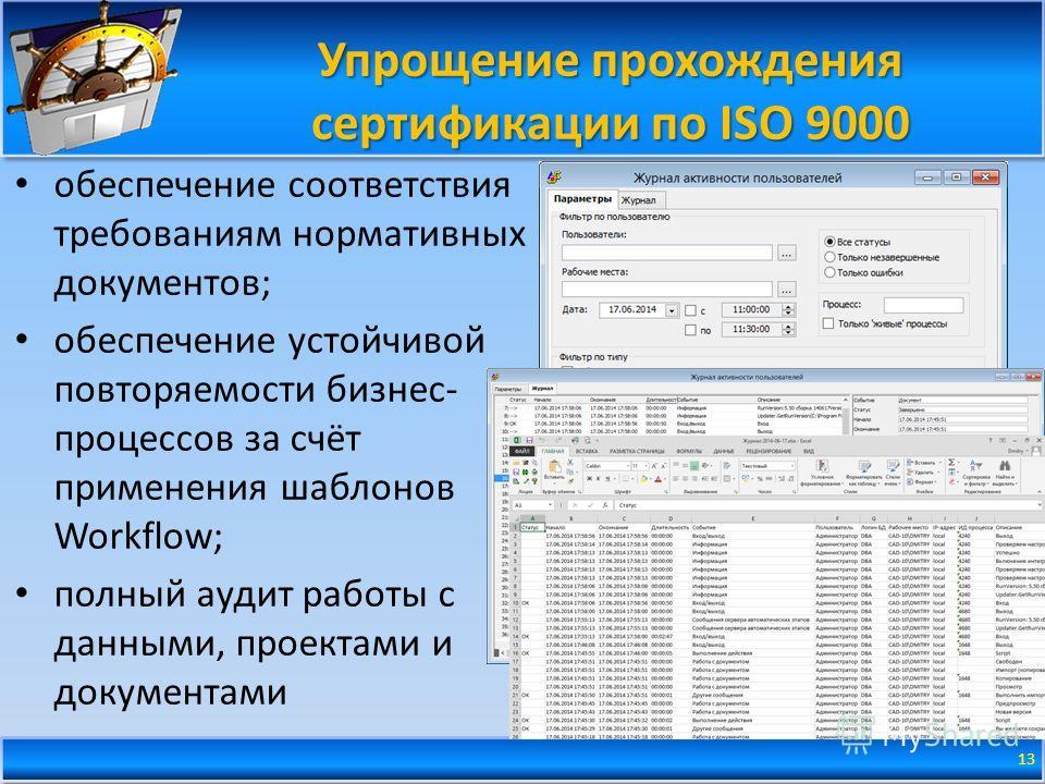 Упрощение прохождения сертификации по ISO 9000 обеспечение соответствия требованиям нормативных документов; обеспечение устойчивой повторяемости бизнес- процессов за счёт применения шаблонов Workflow; полный аудит работы с данными, проектами и докуме