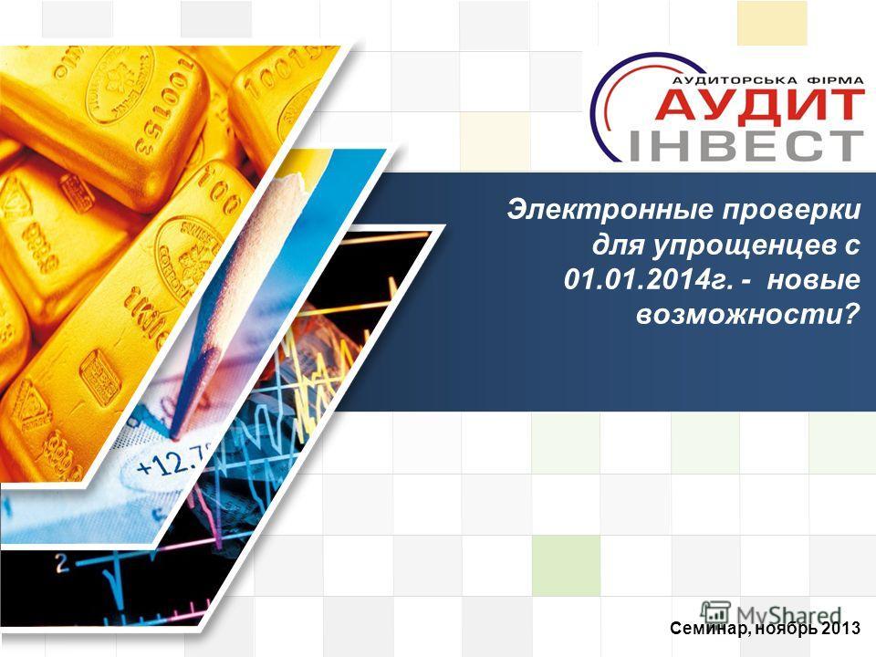 LOGO Семинар, ноябрь 2013 Электронные проверки для упрощенцев с 01.01.2014 г. - новые возможности?