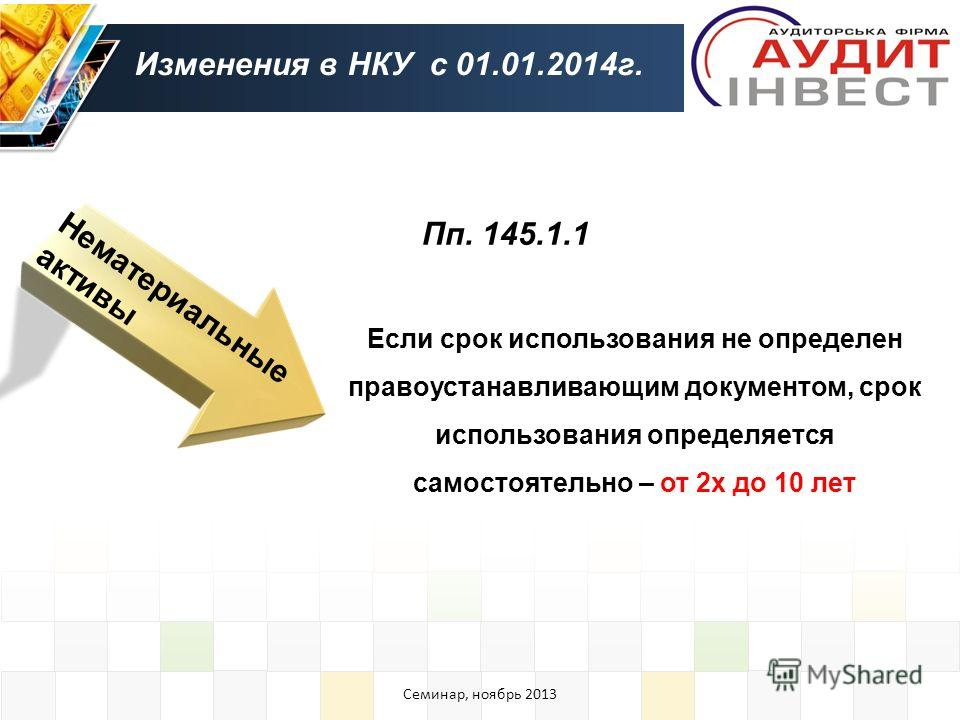 Нематериальные активы Изменения в НКУ с 01.01.2014 г. Пп. 145.1.1 Если срок использования не определен правоустанавливающим документом, срок использования определяется самостоятельно – от 2 х до 10 лет Семинар, ноябрь 2013