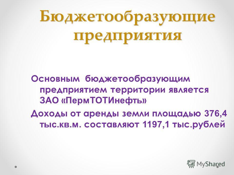 Бюджетообразующие предприятия Основным бюджетообразующим предприятием территории является ЗАО « Перм ТОТИнефть » Доходы от аренды земли площадью 376,4 тыс.кв.м. составляют 1197,1 тыс.рублей