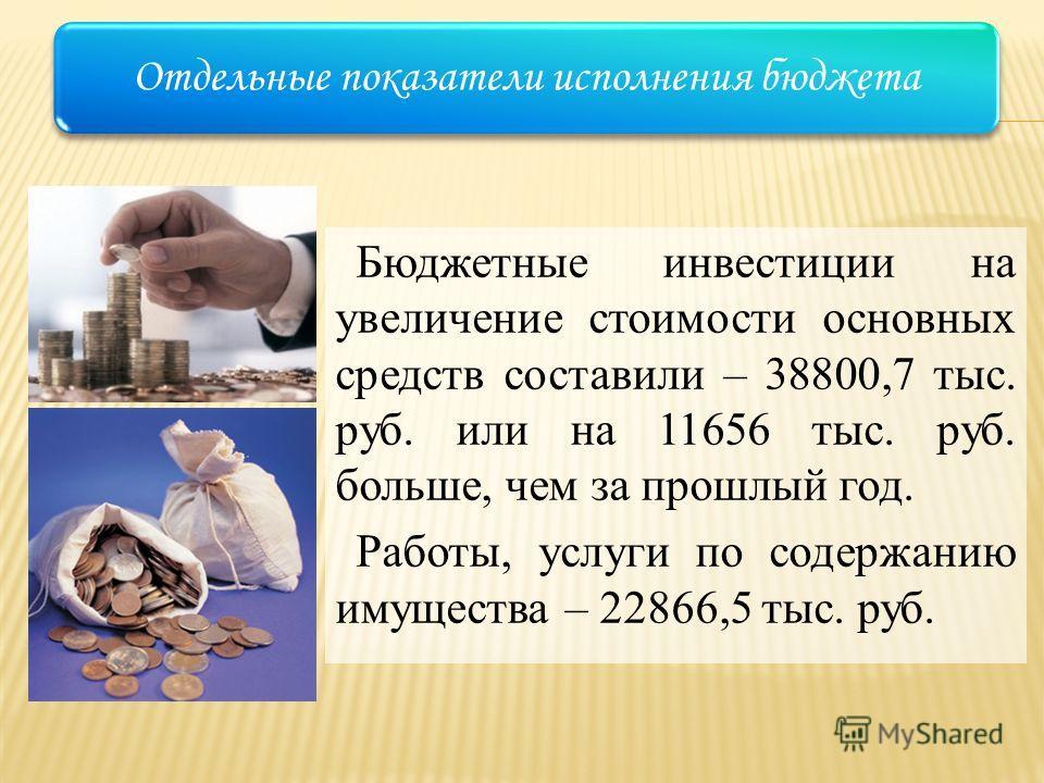 Бюджетные инвестиции на увеличение стоимости основных средств составили – 38800,7 тыс. руб. или на 11656 тыс. руб. больше, чем за прошлый год. Работы, услуги по содержанию имущества – 22866,5 тыс. руб. Отдельные показатели исполнения бюджета