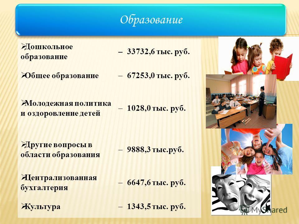 Образование Дошкольное образование –33732,6 тыс. руб. Общее образование –67253,0 тыс. руб. Молодежная политика и оздоровление детей –1028,0 тыс. руб. Другие вопросы в области образования –9888,3 тыс.руб. Централизованная бухгалтерия –6647,6 тыс. руб.