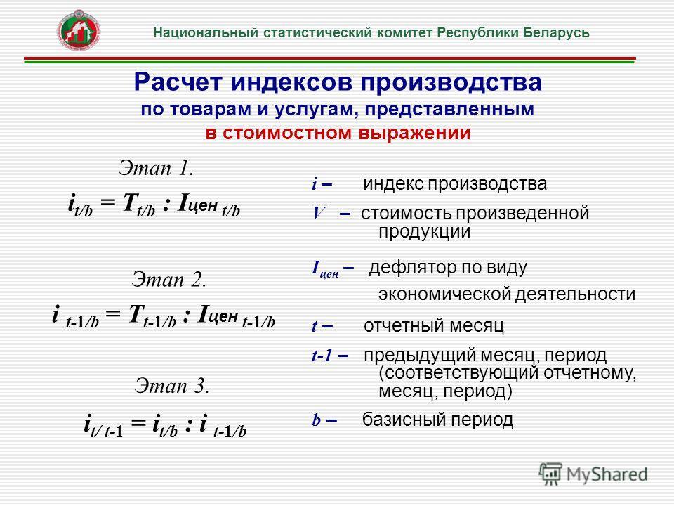 Расчет индексов производства по товарам и услугам, представленным в стоимостном выражении Этап 3. i t/ t-1 = i t/b : i t-1/b Этап 1. i t/b = Т t/b : I цен t/b Этап 2. i t-1/b = Т t-1/b : I цен t-1/b i – индекс производства V – стоимость произведенной