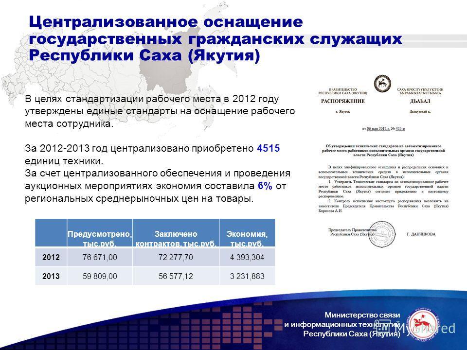 Централизованное оснащение государственных гражданских служащих Республики Саха (Якутия) В целях стандартизации рабочего места в 2012 году утверждены единые стандарты на оснащение рабочего места сотрудника. За 2012-2013 год централизовано приобретено