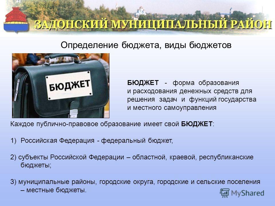 Определение бюджета, виды бюджетов БЮДЖЕТ - форма образования и расходования денежных средств для решения задач и функций государства и местного самоуправления Каждое публично-правовое образование имеет свой БЮДЖЕТ: 1)Российская Федерация - федеральн