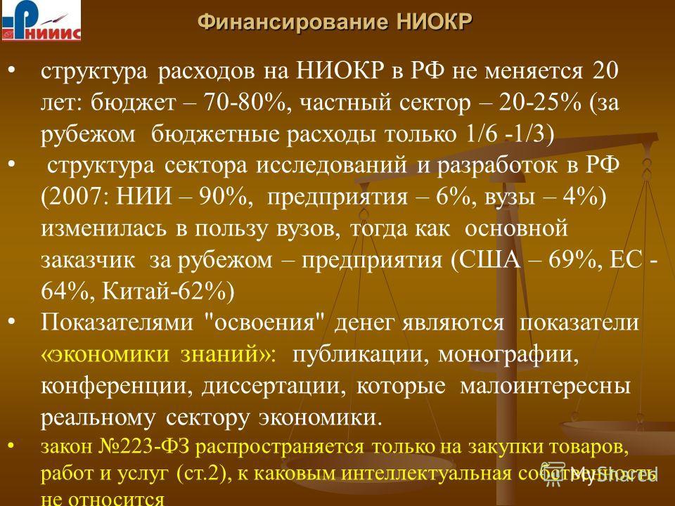 Финансирование НИОКР структура расходов на НИОКР в РФ не меняется 20 лет: бюджет – 70-80%, частный сектор – 20-25% (за рубежом бюджетные расходы только 1/6 -1/3) структура сектора исследований и разработок в РФ (2007: НИИ – 90%, предприятия – 6%, вуз