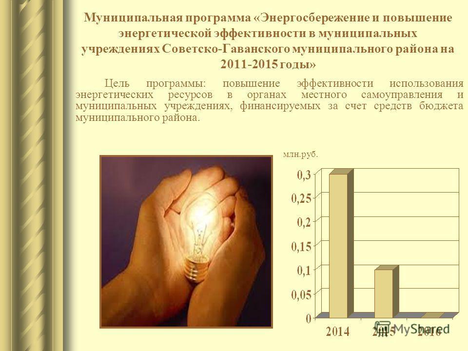 Муниципальная программа «Энергосбережение и повышение энергетической эффективности в муниципальных учреждениях Советско-Гаванского муниципального района на 2011-2015 годы» Цель программы: повышение эффективности использования энергетических ресурсов