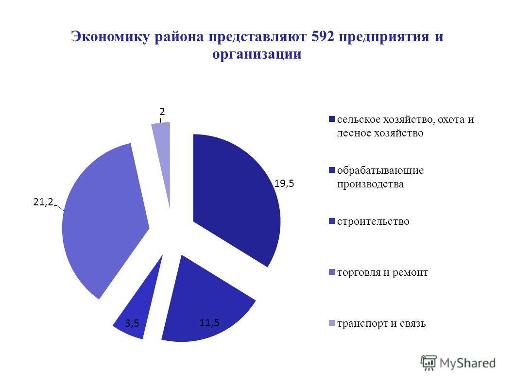 Экономику района представляют 592 предприятия и организации
