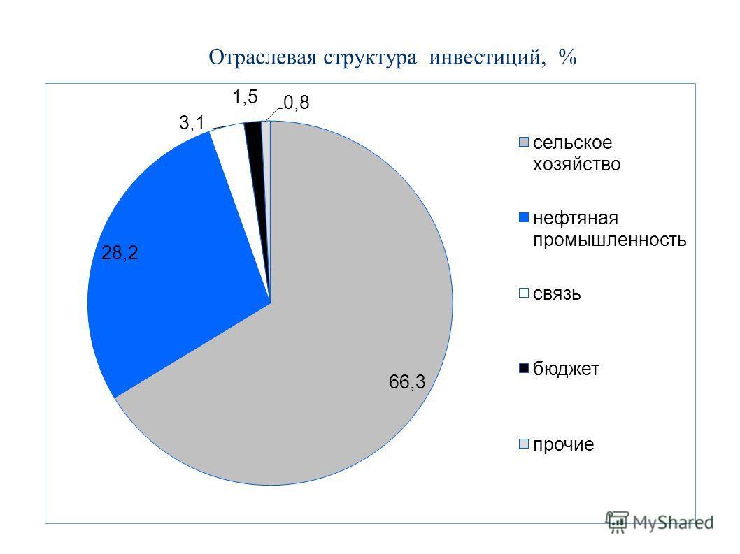 Отраслевая структура инвестиций, %