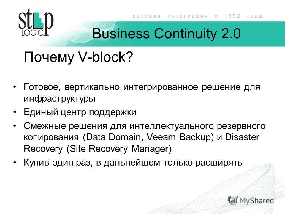 Business Continuity 2.0 Почему V-block? Готовое, вертикально интегрированное решение для инфраструктуры Единый центр поддержки Смежные решения для интеллектуального резервного копирования (Data Domain, Veeam Backup) и Disaster Recovery (Site Recovery