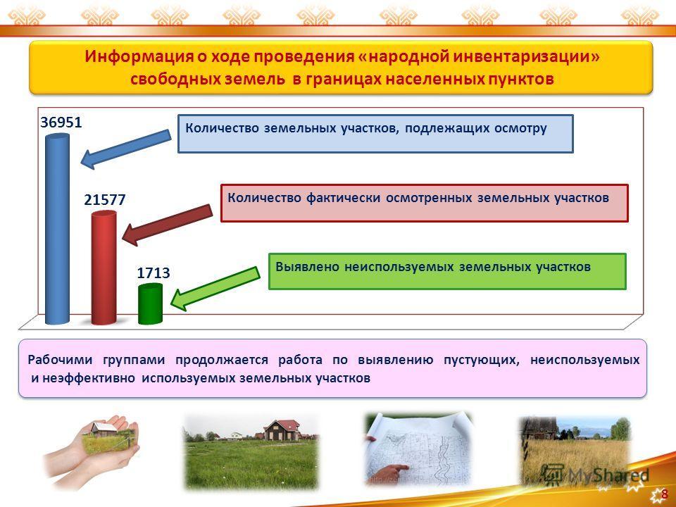 Информация о ходе проведения «народной инвентаризации» свободных земель в границах населенных пунктов 8 Рабочими группами продолжается работа по выявлению пустующих, неиспользуемых и неэффективно используемых земельных участков