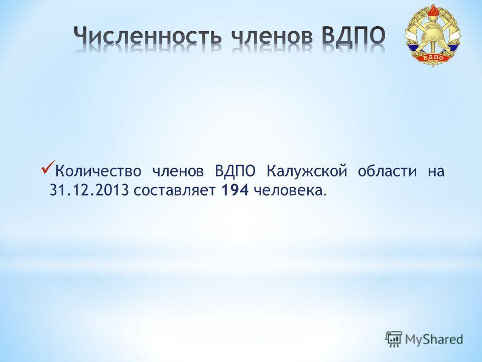 Количество членов ВДПО Калужской области на 31.12.2013 составляет 194 человека.