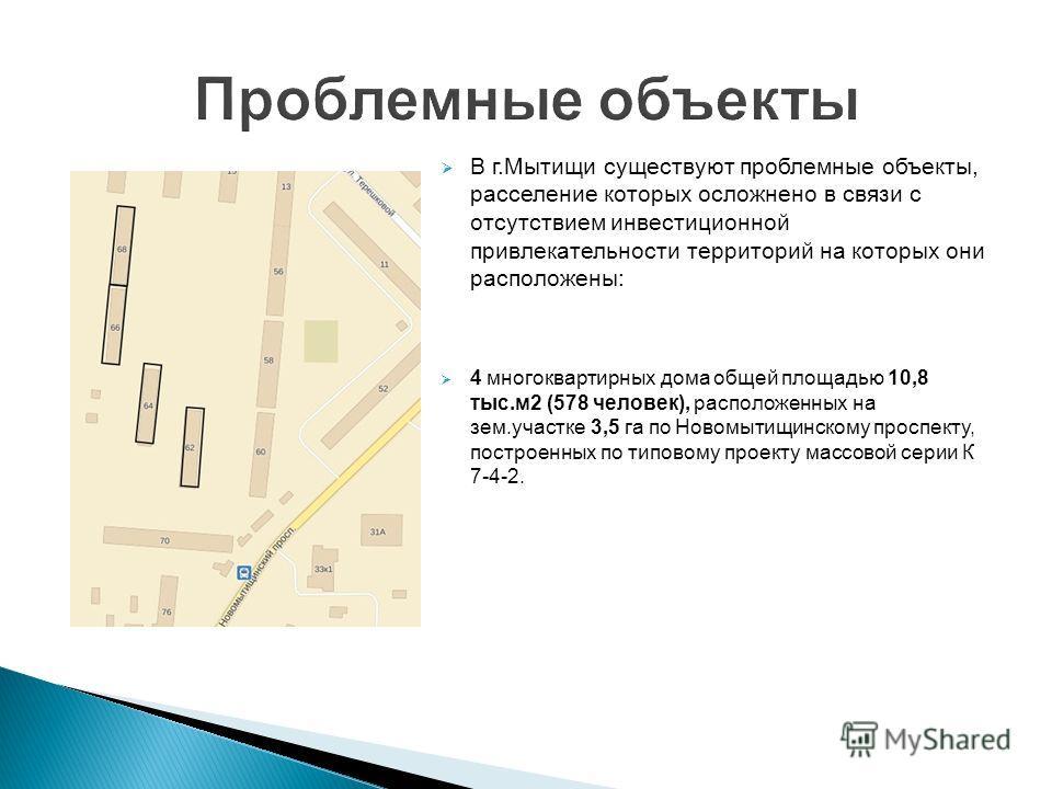 Проблемные объекты В г.Мытищи существуют проблемные объекты, расселение которых осложнено в связи с отсутствием инвестиционной привлекательности территорий на которых они расположены: 4 многоквартирных дома общей площадью 10,8 тыс.м 2 (578 человек),
