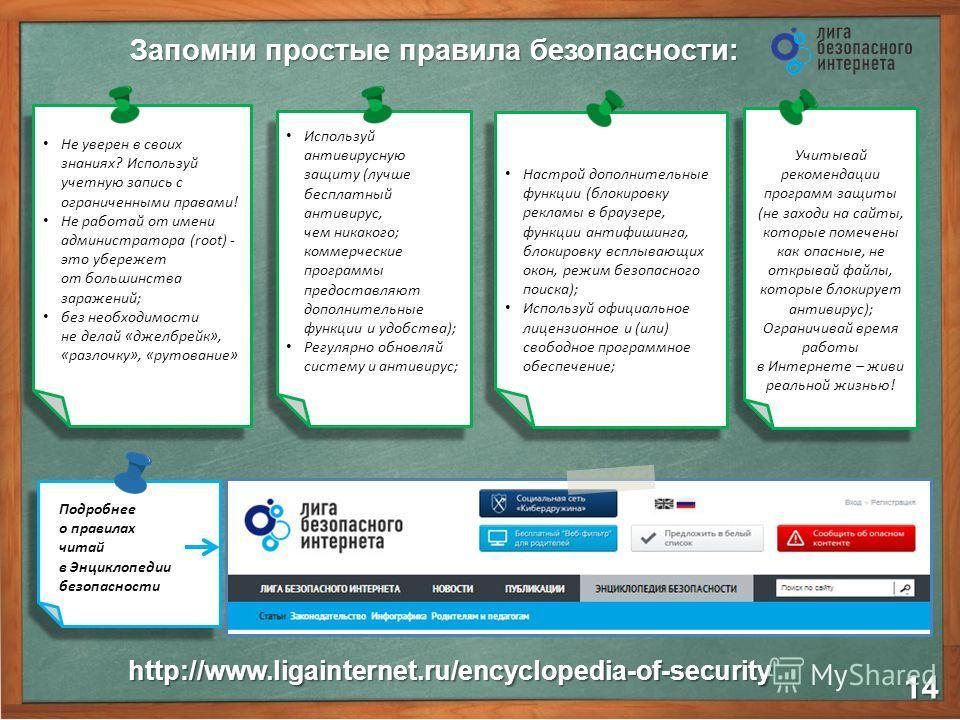 Запомни простые правила безопасности: 14 http://www.ligainternet.ru/encyclopedia-of-security Не уверен в своих знаниях? Используй учетную запись с ограниченными правами! Не работай от имени администратора (root) - это убережет от большинства заражени