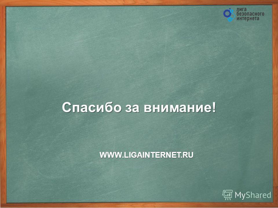 Спасибо за внимание! 18 WWW.LIGAINTERNET.RU