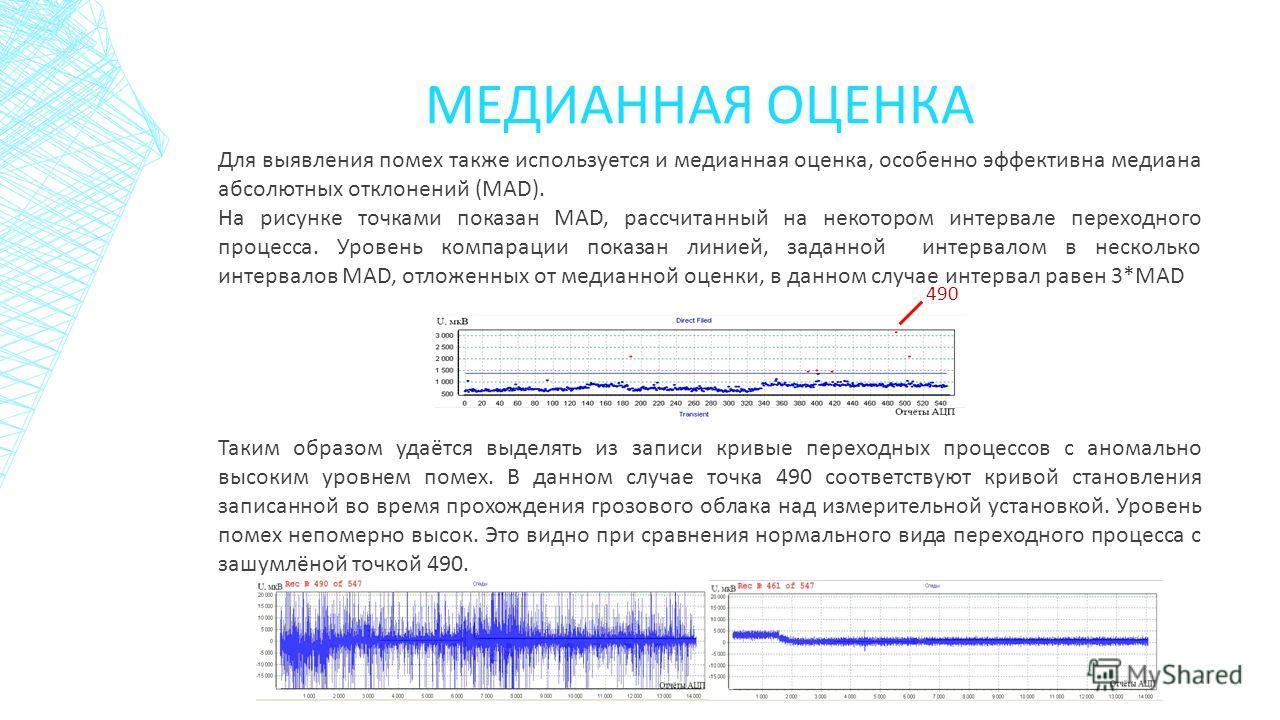 МЕДИАННАЯ ОЦЕНКА Для выявления помех также используется и медианная оценка, особенно эффективна медиана абсолютных отклонений (MAD). На рисунке точками показан MAD, рассчитанный на некотором интервале переходного процесса. Уровень компарации показан