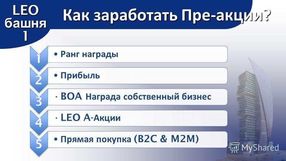 1 Ранг награды 2 Прибыль 3 BOA Награда собственный бизнес 4 LEO A- Акции 5 Прямая покупка (B2C & M2M) Как заработать Пре-акции? LEO башня 1