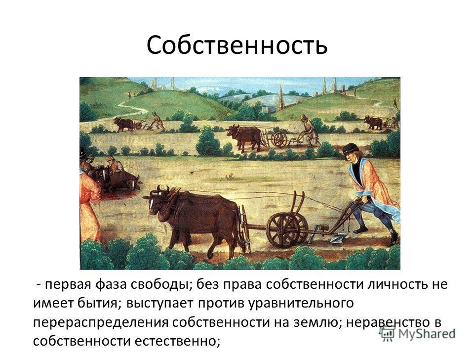 Собственность - первая фаза свободы; без права собственности личность не имеет бытия; выступает против уравнительного перераспределения собственности на землю; неравенство в собственности естественно;