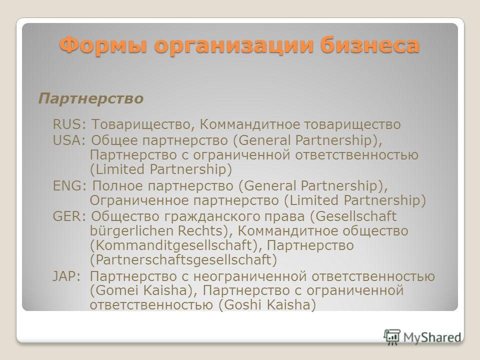 Формы организации бизнеса Формы организации бизнеса Партнерство RUS: Товарищество, Коммандитное товарищество USA: Общее партнерство (General Partnership), Партнерство с ограниченной ответственностью (Limited Partnership) ENG: Полное партнерство (Gene