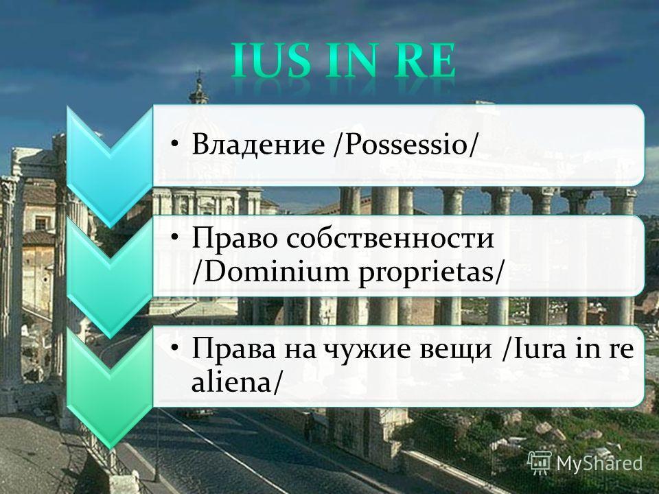 Владение /Possessio/ Право собственности /Dominium proprietas/ Права на чужие вещи /Iura in re aliena/