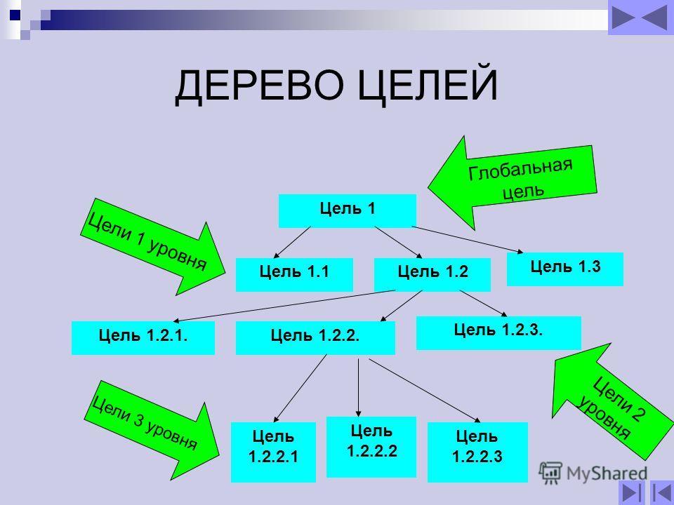ДЕРЕВО ЦЕЛЕЙ Цель 1 Цель 1.1Цель 1.2 Цель 1.3 Цель 1.2.1. Цель 1.2.2. Цель 1.2.3. Цель 1.2.2.1 Цель 1.2.2.2 Цель 1.2.2.3 Глобальная цель Цели 2 уровня Цели 3 уровня Цели 1 уровня