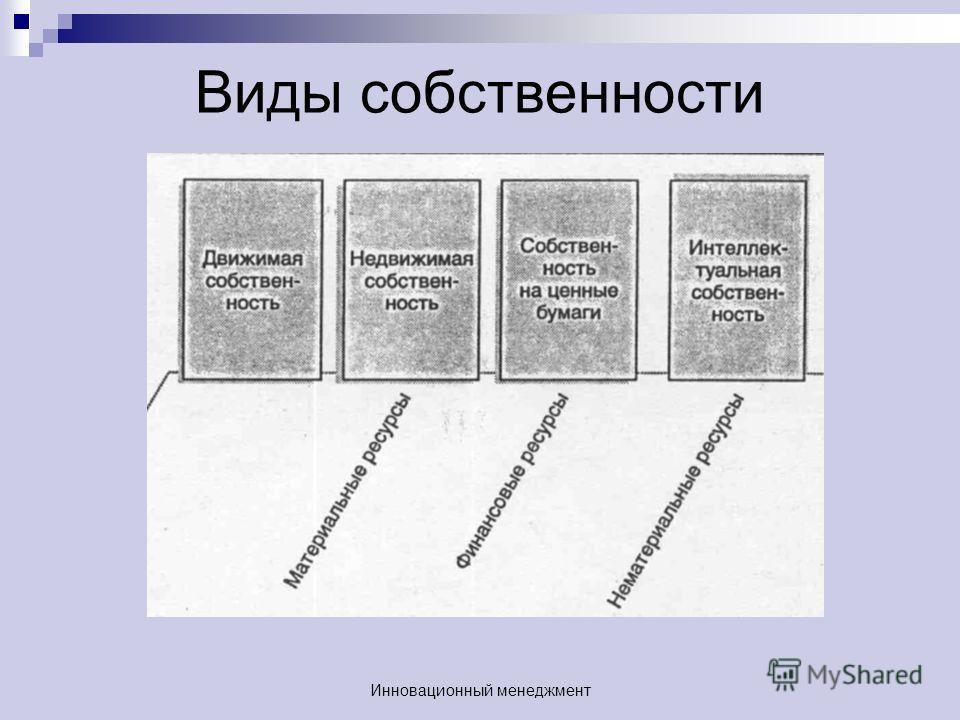 Виды собственности Инновационный менеджмент