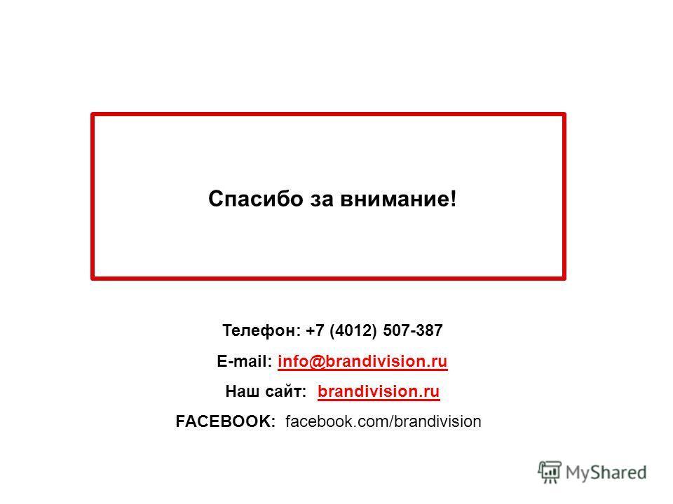Спасибо за внимание! Телефон: +7 (4012) 507-387 E-mail: info@brandivision.ru Наш сайт: brandivision.ru FACEBOOK: facebook.com/brandivision