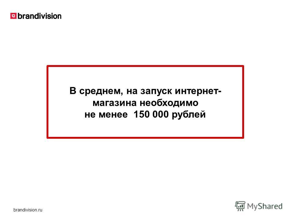 brandivision.ru В среднем, на запуск интернет- магазина необходимо не менее 150 000 рублей