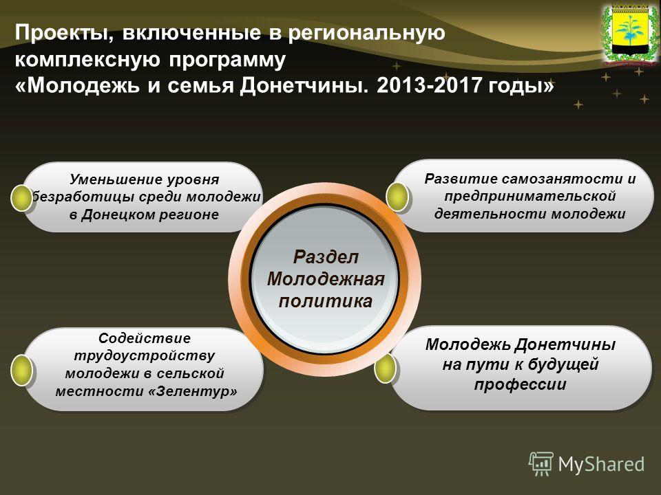Проекты, включенные в региональную комплексную программу «Молодежь и семья Донетчины. 2013-2017 годы» Уменьшение уровня безработицы среди молодежи в Донецком регионе Содействие трудоустройству молодежи в сельской местности «Зелентур» Развитие самозан