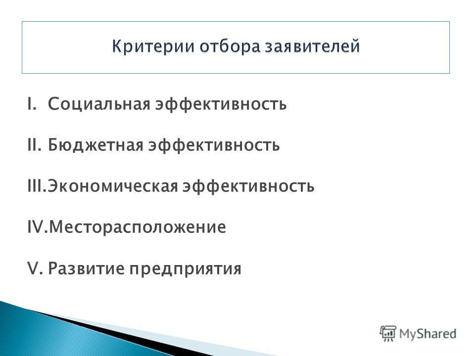 I.Социальная эффективность II.Бюджетная эффективность III.Экономическая эффективность IV.Месторасположение V.Развитие предприятия