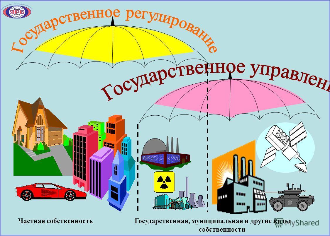 Частная собственность Государственная, муниципальная и другие виды собственности