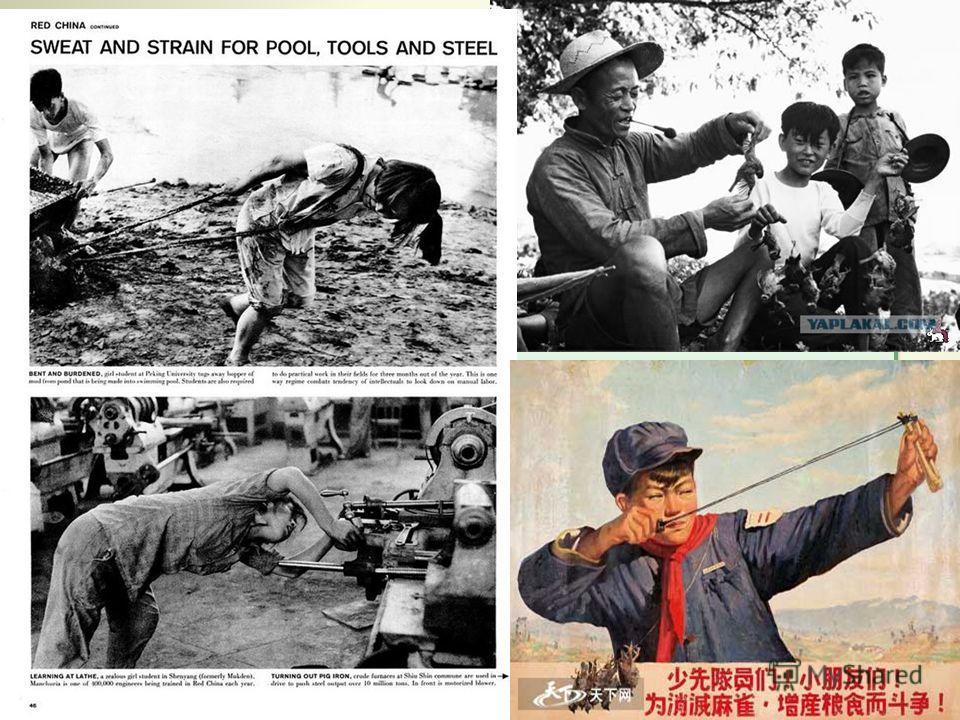 «Большой скачок» к коммунизму: поставлена задача за 7-10 лет обогнать по уровню развития СССР и США и построить коммунизм; создание народных коммун, которые стали основной формой мобилизации масс для достижения цели построения коммунизма; «битва за с