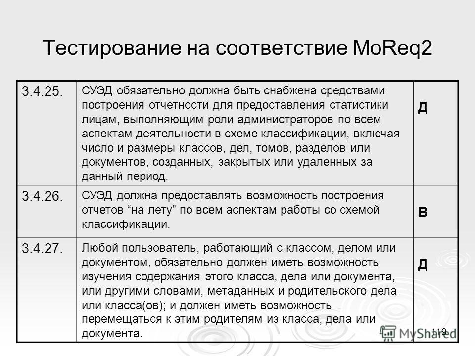 Тестирование на соответствие MoReq2 3.4.25. СУЭД обязательно должна быть снабжена средствами построения отчетности для предоставления статистики лицам, выполняющим роли администраторов по всем аспектам деятельности в схеме классификации, включая числ
