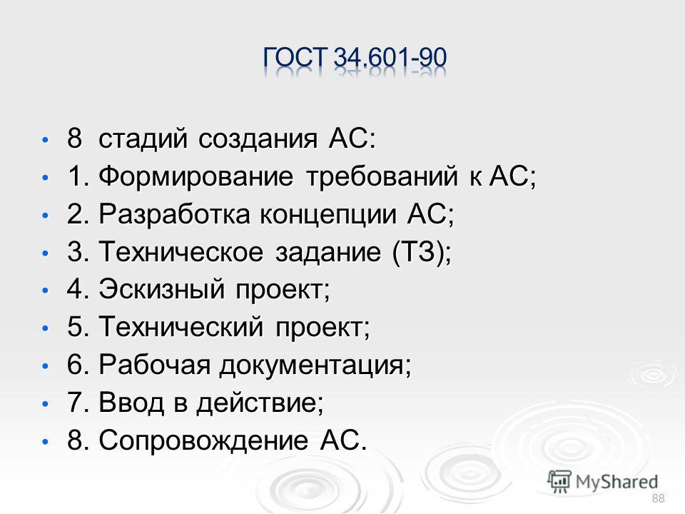 8 стадий создания АС: 8 стадий создания АС: 1. Формирование требований к АС; 1. Формирование требований к АС; 2. Разработка концепции АС; 2. Разработка концепции АС; 3. Техническое задание (ТЗ); 3. Техническое задание (ТЗ); 4. Эскизный проект; 4. Эск