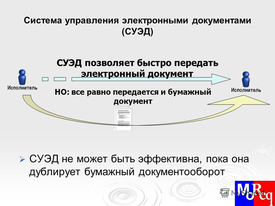 Система управления электронными документами (СУЭД) СУЭД не может быть эффективна, пока она дублирует бумажный документооборот СУЭД не может быть эффективна, пока она дублирует бумажный документооборот Исполнитель СУЭД позволяет быстро передать электр