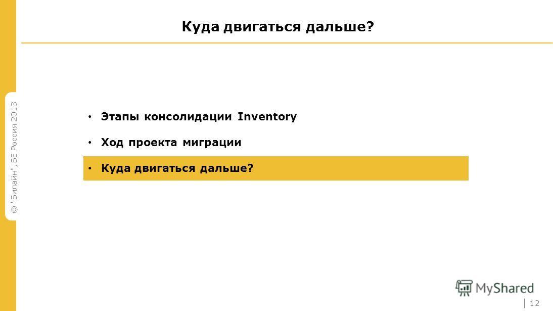 © Билайн, БЕ Россия 2013 Куда двигаться дальше? Этапы консолидации Inventory Ход проекта миграции Куда двигаться дальше? 12
