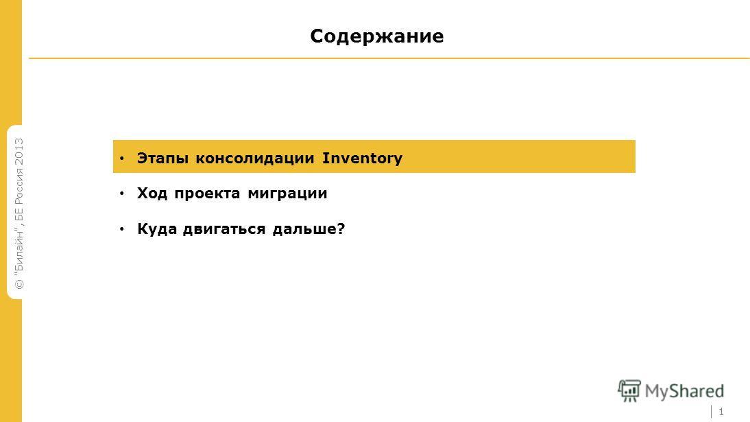 © Билайн, БЕ Россия 2013 Содержание Этапы консолидации Inventory Ход проекта миграции Куда двигаться дальше? 1