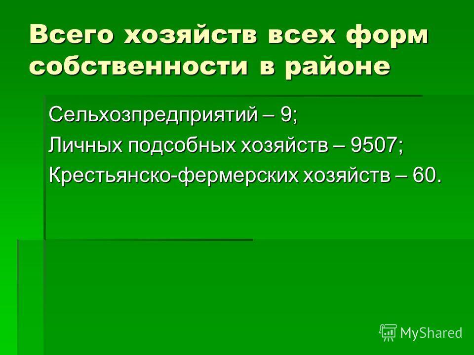 Всего хозяйств всех форм собственности в районе Сельхозпредприятий – 9; Личных подсобных хозяйств – 9507; Крестьянско-фермерских хозяйств – 60.