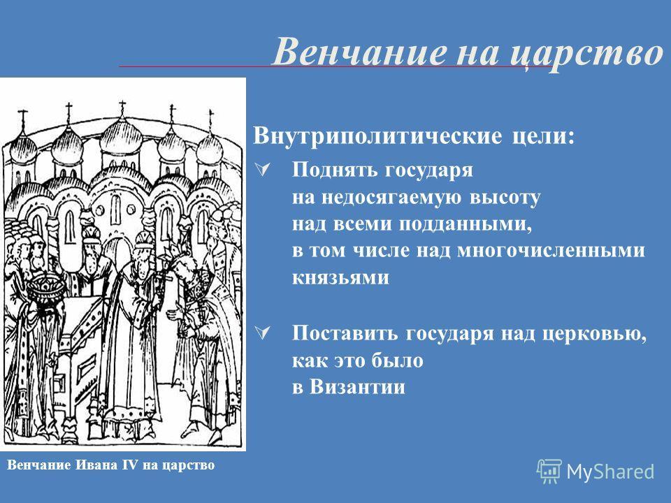 Венчание на царство Внутриполитические цели: Поднять государя на недосягаемую высоту над всеми подданными, в том числе над многочисленными князьями Поставить государя над церковью, как это было в Византии Венчание Ивана IV на царство