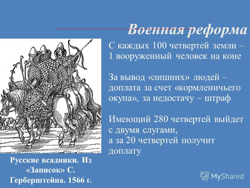 Военная реформа С каждых 100 четвертей земли – 1 вооруженный человек на коне За вывод «лишних» людей – доплата за счет «кормленичьего окупа», за недостачу – штраф Имеющий 280 четвертей выйдет с двумя слугами, а за 20 четвертей получит доплату Русские