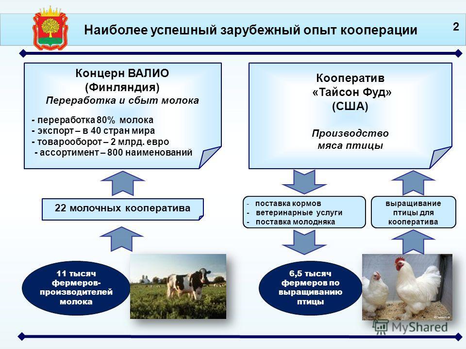 Концерн ВАЛИО (Финляндия) Переработка и сбыт молока - переработка 80% молока - экспорт – в 40 стран мира - товарооборот – 2 млрд. евро - ассортимент – 800 наименований 22 молочных кооператива 11 тысяч фермеров- производителей молока Наиболее успешный