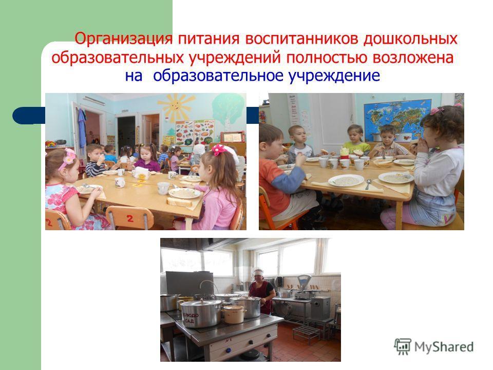Организация питания воспитанников дошкольных образовательных учреждений полностью возложена на образовательное учреждение